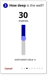 How deep is the well? 3 Cancel 30 metres   estimated value